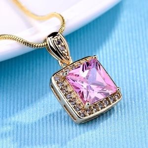 18K Yellow Gold Filled Pink Sapphire Necklace